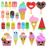 Set of cute cartoon ice-creams on white background in japan kawaii style Royalty Free Stock Photos