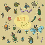Set of cute cartoon insect Stock Image