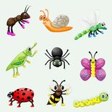 Set of cute cartoon insects stock illustration