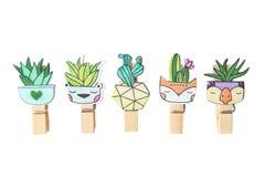 Set of cute cartoon kawaii cactus stock photos