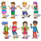 Set of cute cartoon kids. EPS10  File simple technique  no Gradients  no Effects no mesh no Transparencies Royalty Free Stock Photo