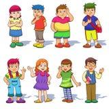 Set of cute cartoon kids. Stock Photos