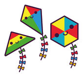 Set Of Cute Cartoon Kites Isolated Stock Photo