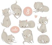 Set with cute cartoon kitten. Vector illistration royalty free illustration