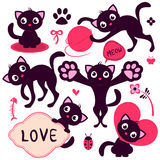 Set of cute cartoon kittens Royalty Free Stock Image
