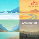 Set Cute Cartoon landscapes with mountain. vector collection of nature Stock Photos