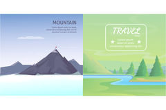 Set Cute Cartoon landscapes with mountain. vector collection of nature Royalty Free Stock Photography