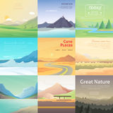 Set Cute Cartoon landscapes with mountain. vector collection of nature Royalty Free Stock Images