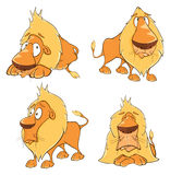 Set of cute cartoon lions. Set of various yellow lions royalty free illustration