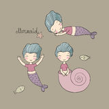 Set with Cute cartoon mermaid. Little sisters. Fun triplets. Stock Photography