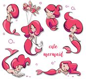 Set of cute cartoon mermaids. Set with cute cartoon pink mermaids - vector illustration Royalty Free Stock Image