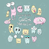Set of cute cartoon monsters different colors and emotions on a green background. Vector Royalty Free Stock Image
