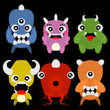 A set of cute cartoon monsters. Vector illustration Stock Photography