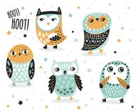 Set of cute cartoon owls with ethnic ornament Stock Photo