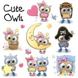 Set of Cute Cartoon Owls. On a white background royalty free illustration
