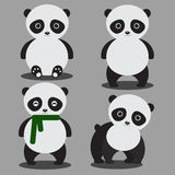 Set of cute cartoon pandas Stock Photos