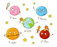Set of cute cartoon planets Stock Image