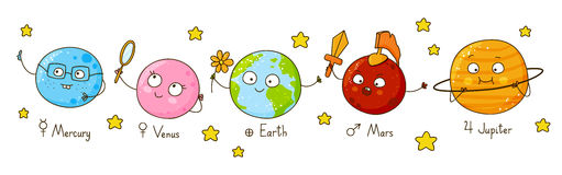 Set of cute cartoon planets Royalty Free Stock Images