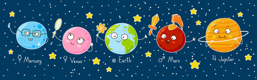 Set of cute cartoon planets Stock Photos