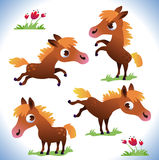 Set of cute cartoon pony Stock Photos