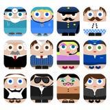 Set of cute cartoon profession icon Royalty Free Stock Photos