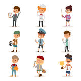 Set of cute cartoon professions kids. Painter Stock Photography