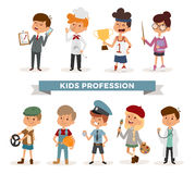 Set of cute cartoon professions kids Stock Image