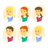 Set of cute cartoon pupils. Children icon set isolated on white background. Vector Illustration. Royalty Free Stock Images