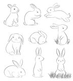 Set of cute cartoon rabbits Stock Photography