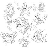 Set of cute cartoon sea animals Royalty Free Stock Photography