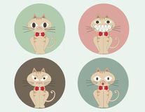 Set of cute cartoon sitting cats vector . Royalty Free Stock Photography