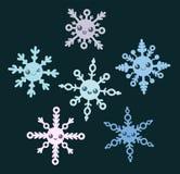 Set of snowflakes. Set of cute cartoon snowflakes Stock Photography