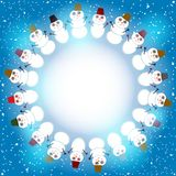 Set of cute cartoon snowmen round frame for text Stock Photography
