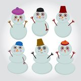 Set of cute cartoon snowmen for winter design. Royalty Free Stock Images