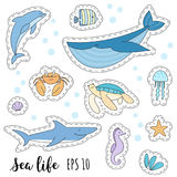 Set of cute cartoon stickers with sea animals stock illustration