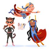 Set of cute, cartoon style superhero super girls characters Stock Photo