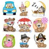 Set of Cute Cartoon Teddy Bear. On a white background Stock Photo