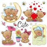 Set of Cartoon Teddy Bear on a white background