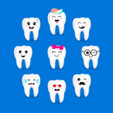 Set of cute cartoon tooth emoticons with different facial expressions. Stock Photos