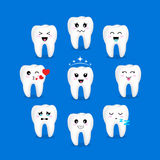Set of cute cartoon tooth emoticons with different facial expressions. Royalty Free Stock Photography