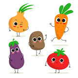 Set of 5 cute cartoon vegetable characters isolated on white Royalty Free Stock Photography