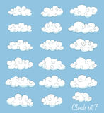Set of cute cartoon white clouds Stock Photography