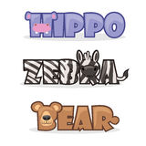 Set cute cartoon wild animals. Cute cartoon wild animals, funny text name zebra, bear and hippopotamus vector illustration