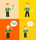 Set of cute cartoon young businessmen. Idea Stock Images