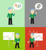 Set of cute cartoon young businessmen. Idea Royalty Free Stock Images