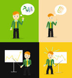 Set of cute cartoon young businessmen. Idea Royalty Free Stock Photo