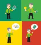 Set of cute cartoon young businessmen. Idea Stock Image
