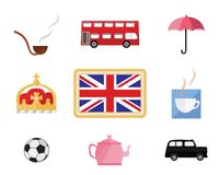 Set of cute cartoons related to London and England. Vector set of cartoon style items related to England on white background Stock Photo