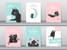 Set of cute cat on birthday backgrounds.Design for kid cards,Vector illustrations. Royalty Free Stock Images