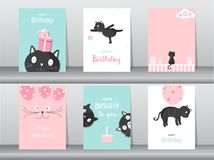 Set of cute cat on birthday backgrounds.Design for kid cards,Vector illustrations. Stock Photos